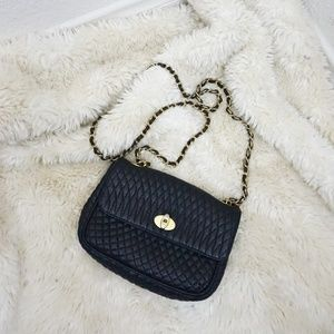 Vintage Bally Leather Quilted Chain Strap Handbag